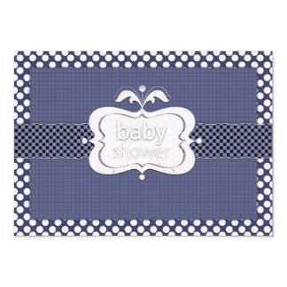 Navy Blue Polkadot Baby Shower Invitations