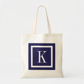 Navy Blue Preppy Square Monogram Tote Bag