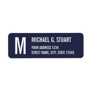 Navy Blue Professional Monogram Bold Text Return Address Label