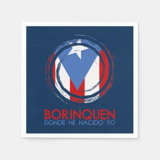 Navy Blue Puerto Rico Borinquen Paper Napkin