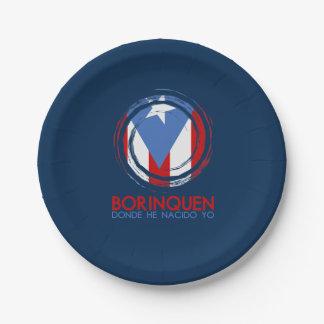Navy Blue Puerto Rico Borinquen Paper Plate