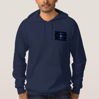 Navy Blue Pullover Hoodie with Small Digital Image