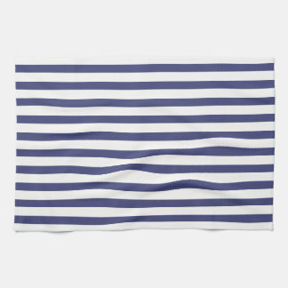 Navy Blue & Pure White Stripes Tea Towel
