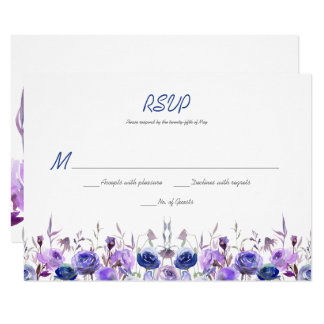 Navy Blue Purple Lavender Watercolor Roses RSVP Card