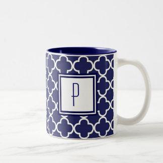 Navy Blue Quatrefoil Monogram Mug