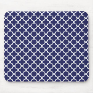 Navy Blue Quatrefoil Mousepad