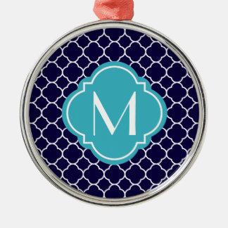 Navy Blue Quatrefoil Pattern with Monogram Metal Ornament