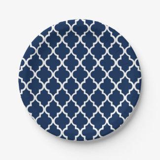 Navy Blue Quatrefoil Tiles Pattern Paper Plate