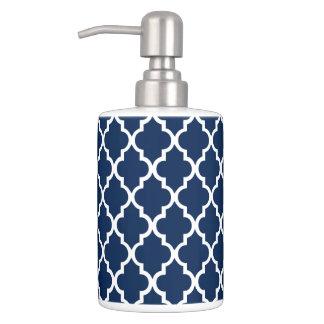 Navy Blue Quatrefoil Tiles Pattern Soap Dispenser And Toothbrush Holder