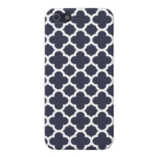 Navy Blue Quatrefoil Trellis Pattern iPhone 5 Cover