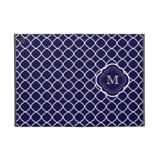 Navy Blue Quatrefoil with Monogram Cases For iPad Mini