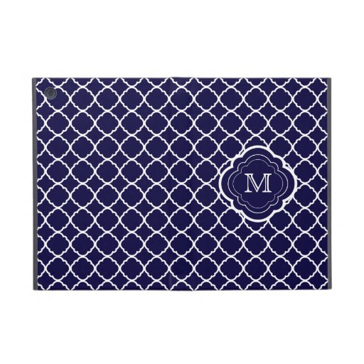 Navy Blue Quatrefoil with Monogram Covers For iPad Mini