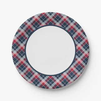 Navy Blue, Red and Grey Sporty Plaid Border 7 Inch Paper Plate