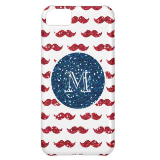 Navy Blue Red Glitter Mustache Your Monogram iPhone 5C Cover