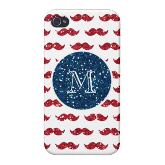Navy Blue Red Glitter Mustache Your Monogram iPhone 4 Covers