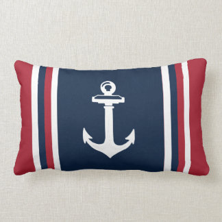 Navy Blue Red Nautical Throw Pillow Anchor