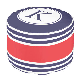 Navy Blue Red Personalized Monogram Pattern Pouf