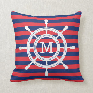 Navy Blue & Red Stripes Rudder Monogram Cushion