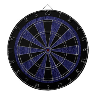Navy Blue Retro Crumpled Paper Dartboard