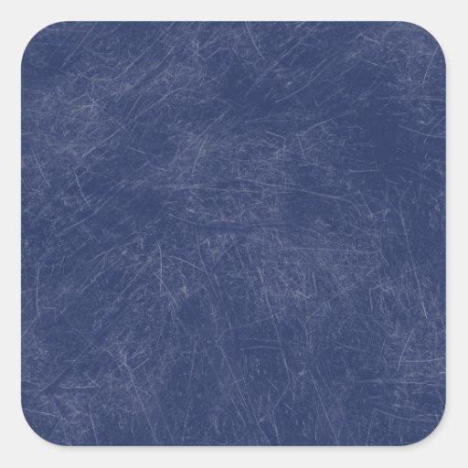 Navy blue Retro Grunge Scratched Texture Square Sticker
