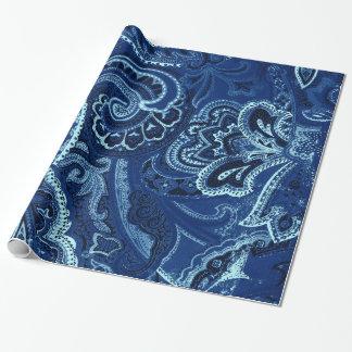 Navy Blue Retro Paisley Bandanna/Bandana Wrapping Paper