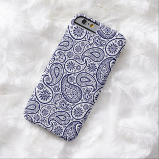 Navy Blue Retro Paisley Over White Background Barely There iPhone 6 Case