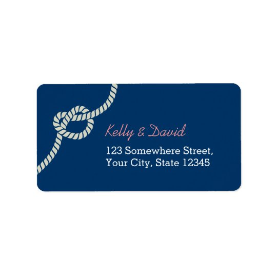 Navy Blue Rope Knot Nautical Wedding Label