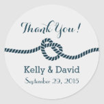 Navy Blue Rope Knot Wedding Favor Stickers
