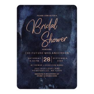 Navy Blue & Rose Gold Bridal Shower Invitation