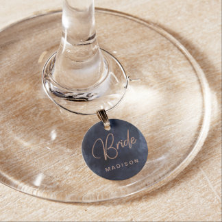 Navy Blue & Rose Gold Wedding Bride Monogram Wine Charm