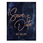 Navy Blue & Rose Gold Wedding Save the Date Postcard
