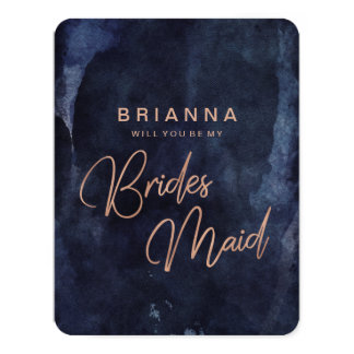 Navy Blue & Rose Gold Will You Be My Bridesmaid Card