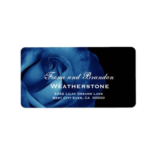 Navy Blue Rose Wedding A003 Label