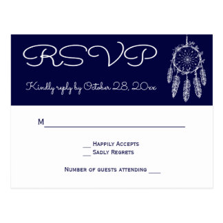 Navy Blue RSVP Native American Dream Catcher Postcard