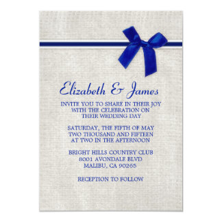 Navy Blue Rustic Burlap Wedding Invitations