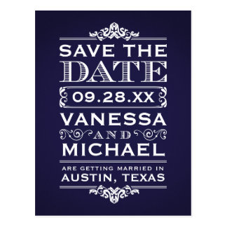 Navy Blue Rustic Modern Vintage Save the Date Postcard