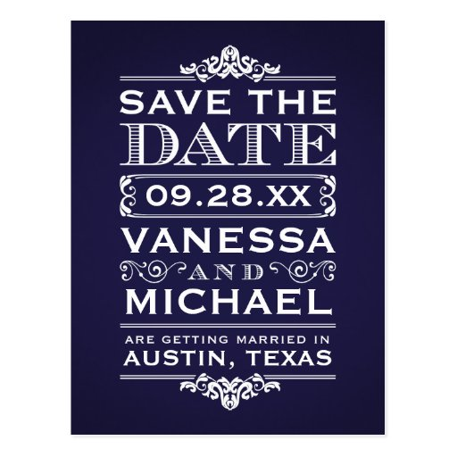 Navy Blue Rustic Modern Vintage Save the Date Post Card