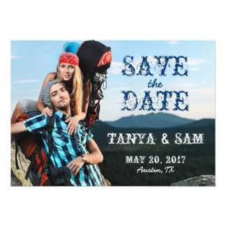 Navy Blue Rustic Photo Save the Date Invitation