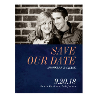 Navy Blue Save The Date Photo Postcard. Postcard