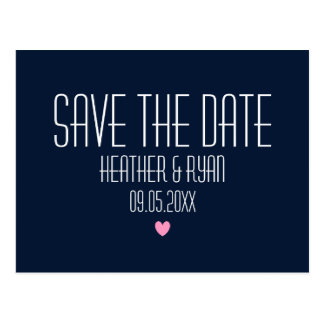 Navy blue save the date postcard