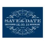 Navy Blue Save the Date | Swirl and Flourish Postcard