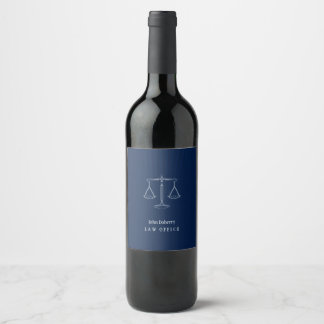 Navy Blue Scales of Justice   Professional Wine Label