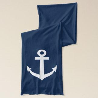 Navy blue scarf with nautical ship anchor design