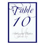 Navy Blue Script Monogram Wedding Table Number Personalised Invite