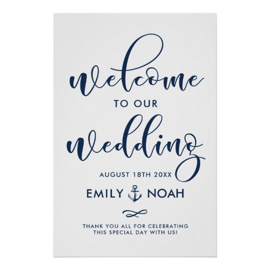 Navy Blue Script Nautical Wedding Welcome Sign II Poster