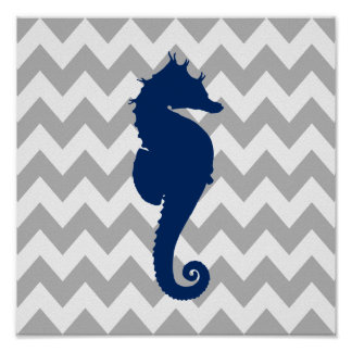 Navy Blue Seahorse Gray and White Chevron Poster