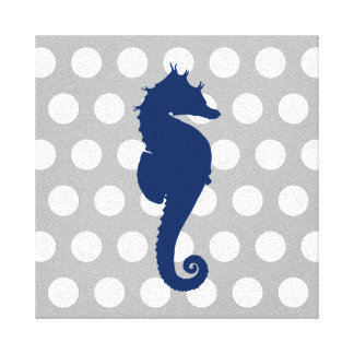 Navy Blue Seahorse Grey and White Polka Dots Canvas Print