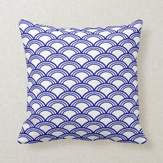 Navy Blue Seigaiha Pattern Cushion