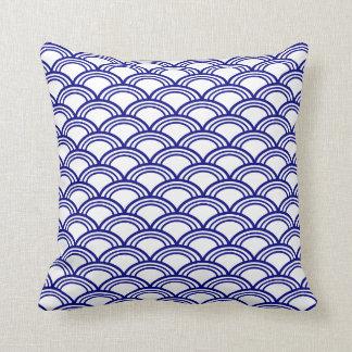 Navy Blue Seigaiha Pattern Throw Pillow