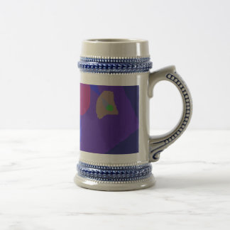 Navy Blue Serious Face Abstract Painting Beer Steins